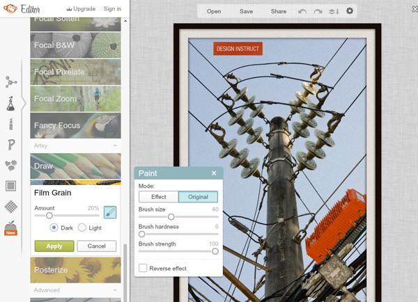 Screenshot of a free online photo editor: PicMonkey