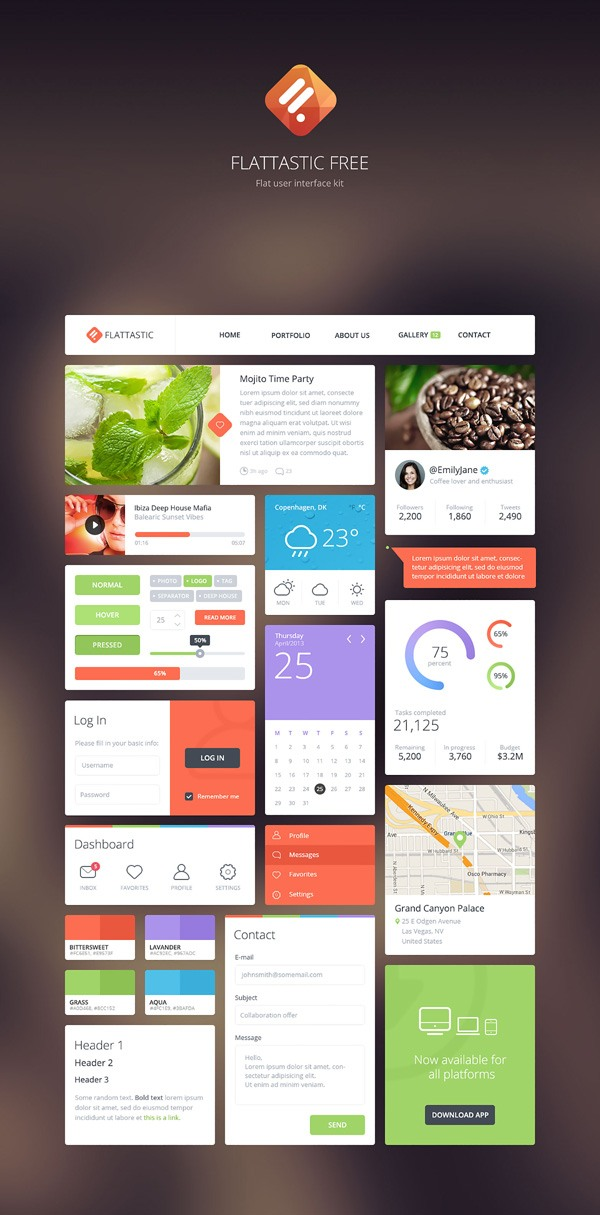 New free website graphics: Free Download: Flattastic UI Kit