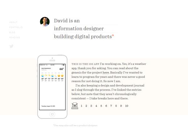 Simple portfolio website design for inspiration: davidyeiser.com
