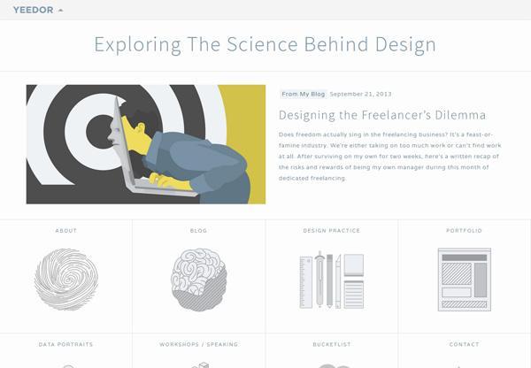 Simple portfolio website design for inspiration: www.yeedor.com