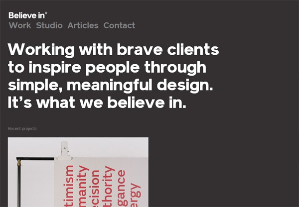 Simple portfolio website design for inspiration: www.believein.co.uk