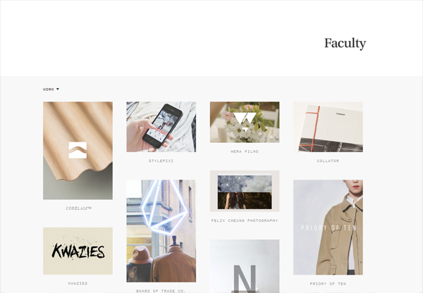 Simple portfolio website design for inspiration: studiofaculty.com