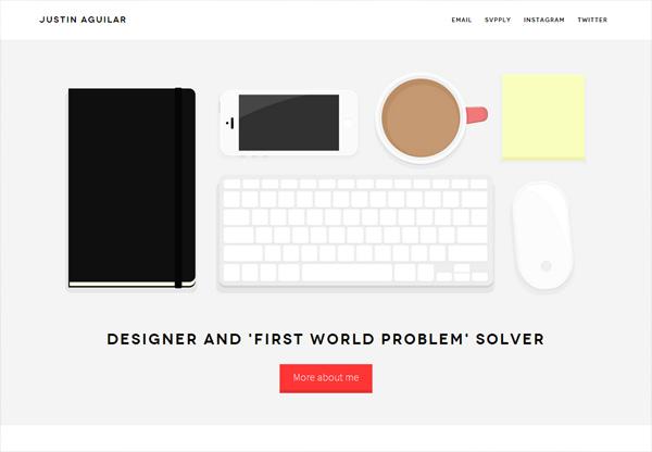 Simple portfolio website design for inspiration: www.justinaguilar.com