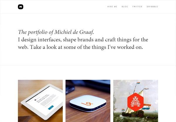 Simple portfolio website design for inspiration: www.michieldegraaf.com