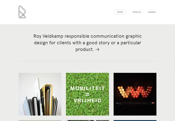 Simple portfolio website design for inspiration: royveldkamp.nl