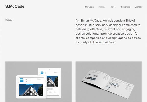 Simple portfolio website design for inspiration: www.simonmccade.com
