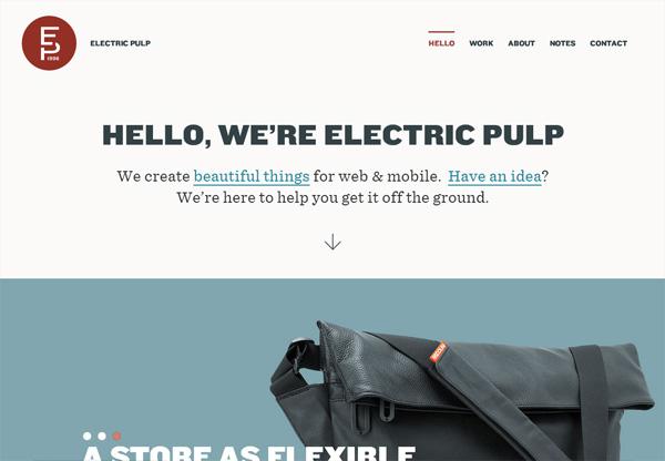 Simple portfolio website design for inspiration: electricpulp.com