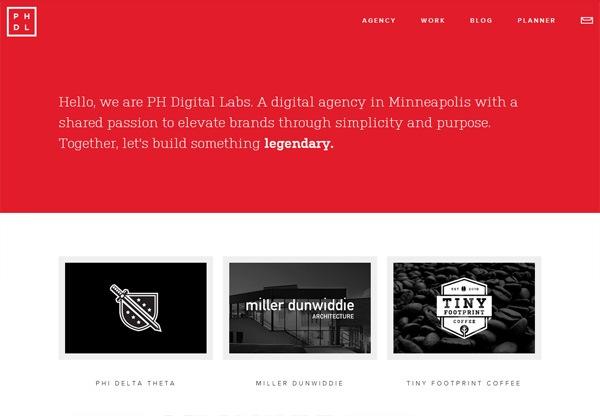 Simple portfolio website design for inspiration: phdigitallabs.com