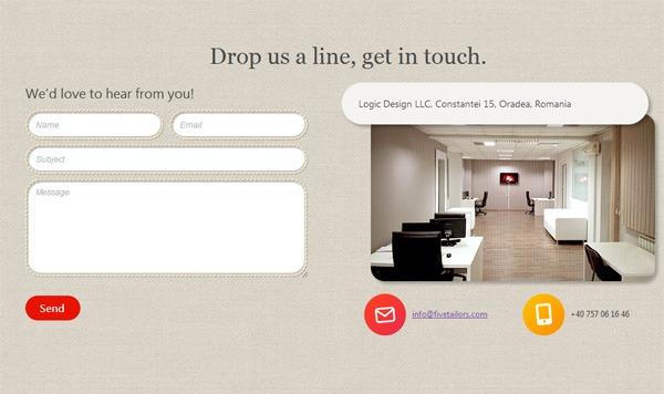 Web form on FiveTailors.com