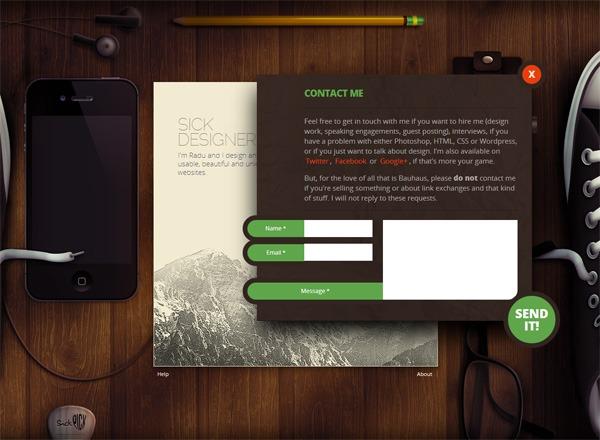Web form on Sickdesigner.com