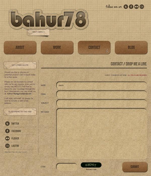 Web form on BAHUR78