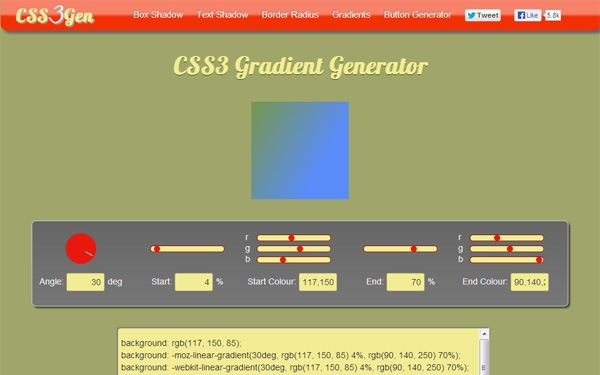 CSS3Gen Gradient Generator