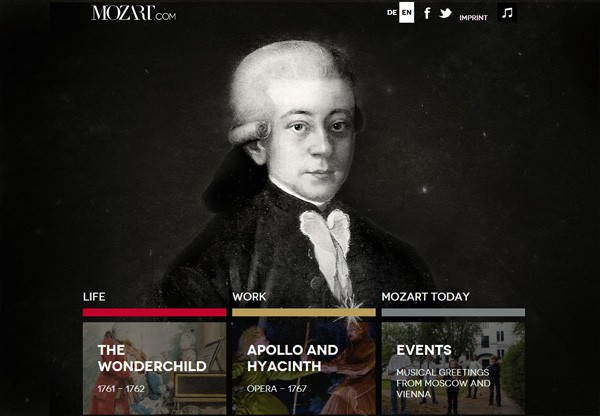 Dark web design example: Mozart