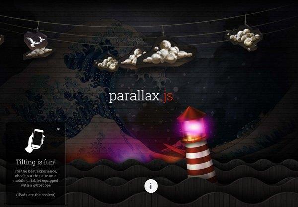 Dark web design example: parallax.js