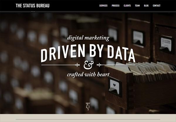 Dark web design example: The Status Bureau