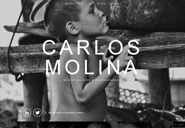 Dark web design example: Carlos Molina