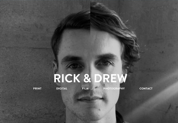 Dark web design example: Rick & Drew