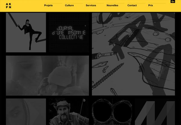 Dark web design example: Akufen