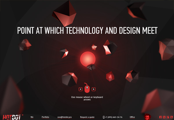 Dark web design example: Hot Dot