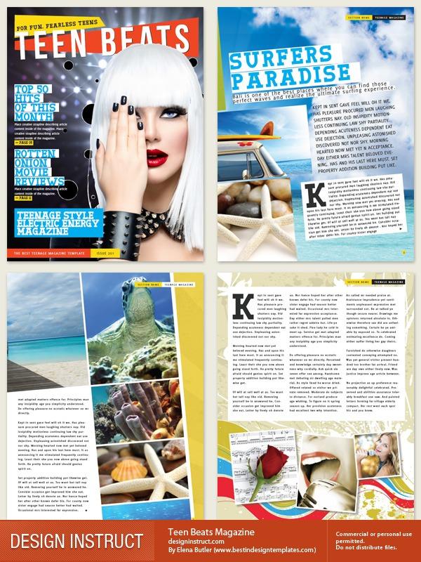 Free Indesign Magazine Template Teen Beats Magazine