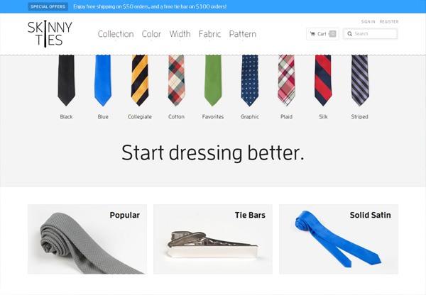 Online shop example: Skinny Ties