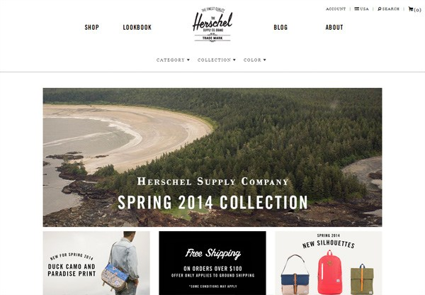 Online shop example: Herschel Supply Co
