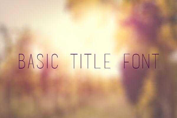 Basic Title Font