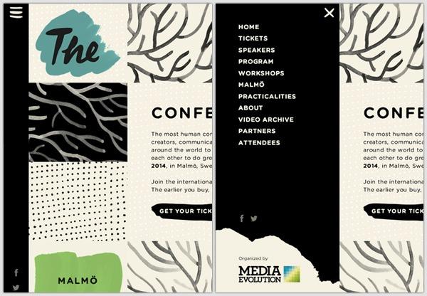 Off-canvas menu example: Media Evolution 2014