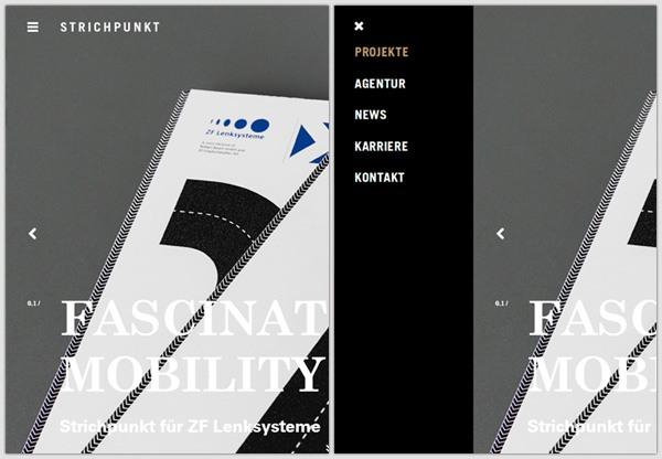 Off-canvas menu example: STRICHPUNKT DESIGN