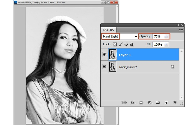 Reduce the photographic details using the Hard Light blend mode.