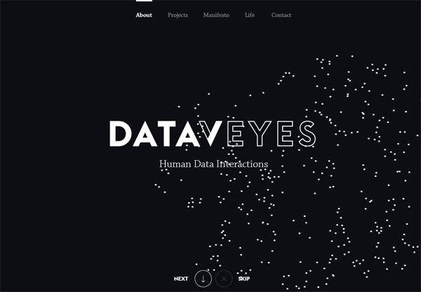 A screenshot of a black web design named Dataveyes