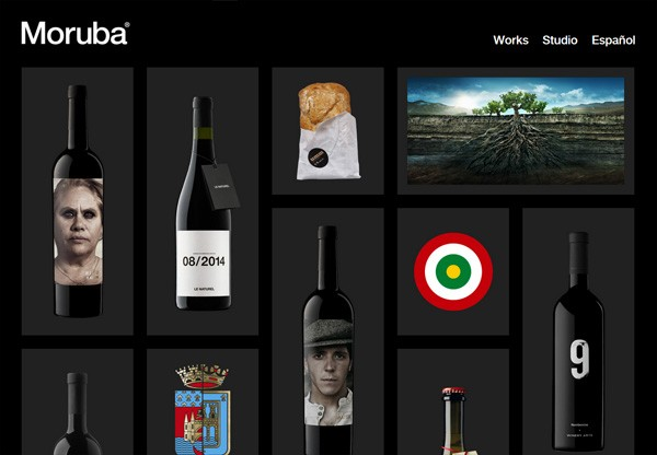 A screenshot of a black web design named Moruba