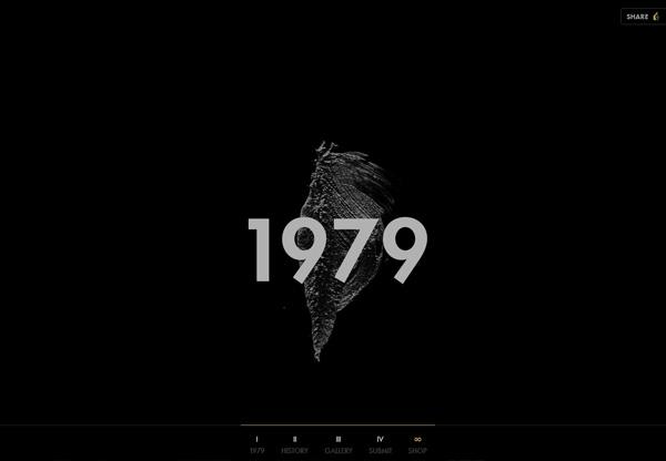 A screenshot of a black web design named deru