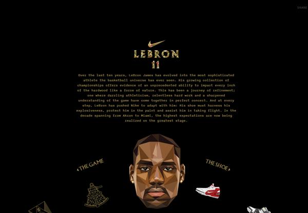 A screenshot of a black web design named LeBron James