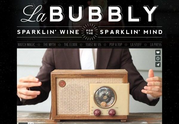 A screenshot of a black web design named La Bubbly