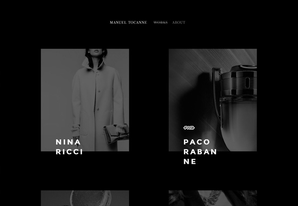 A screenshot of a black web design named Manuel Tocanne