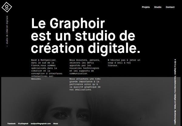 A screenshot of a black web design named Le Graphoir