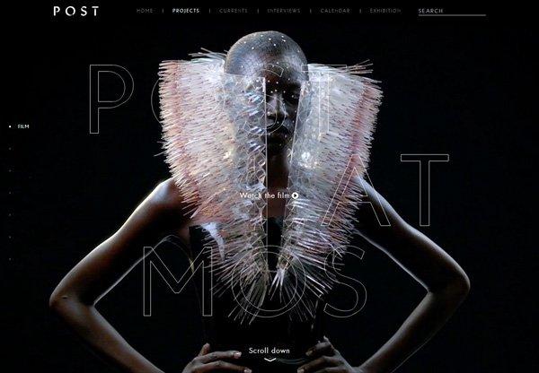 A screenshot of a black web design named Post