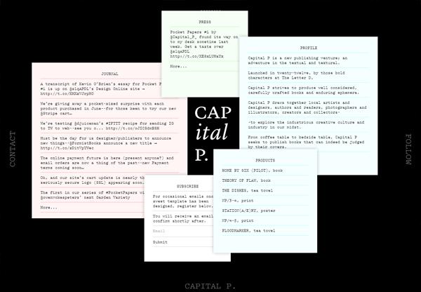 A screenshot of a black web design named Capital P.
