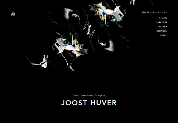 A screenshot of a black web design named Joost Huver