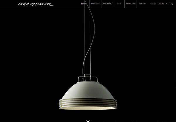 A screenshot of a black web design named Ingo Maurer GmbH