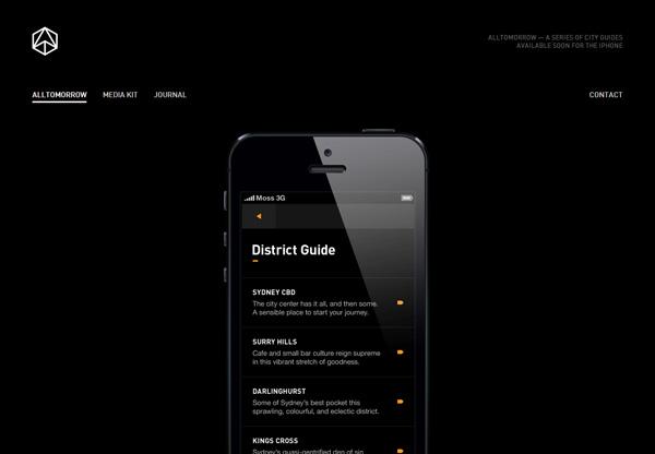 A screenshot of a black web design named AllTomorrow