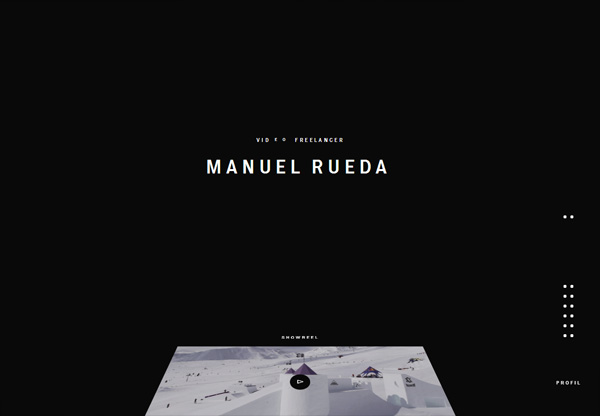 A screenshot of a black web design named Manuel Rueda