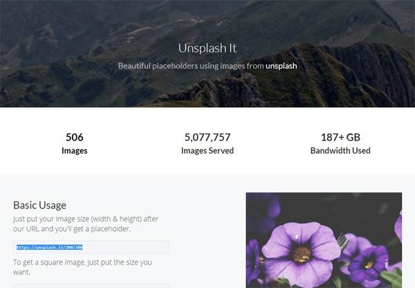 Image placeholder web service called Unsplash It