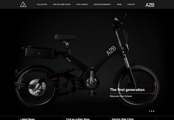 Dark web design example: A2B