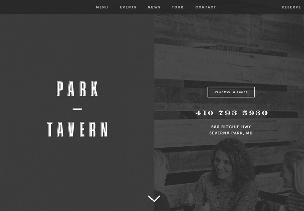 Dark web design example: Park Tavern