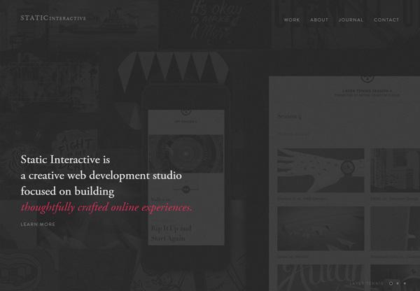 Dark web design example: Static Interactive