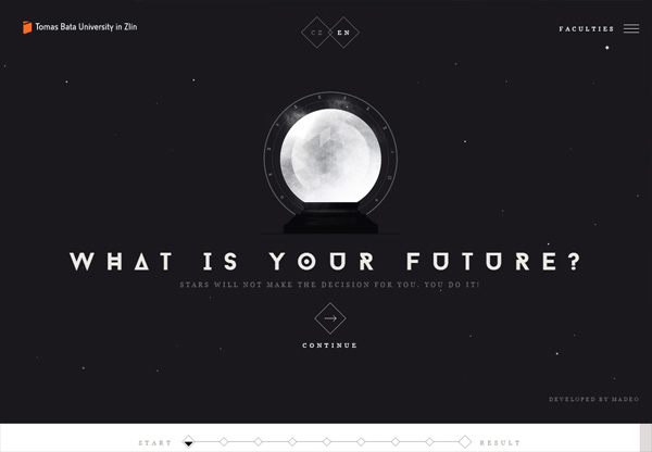Dark web design example: Tomas Bata University