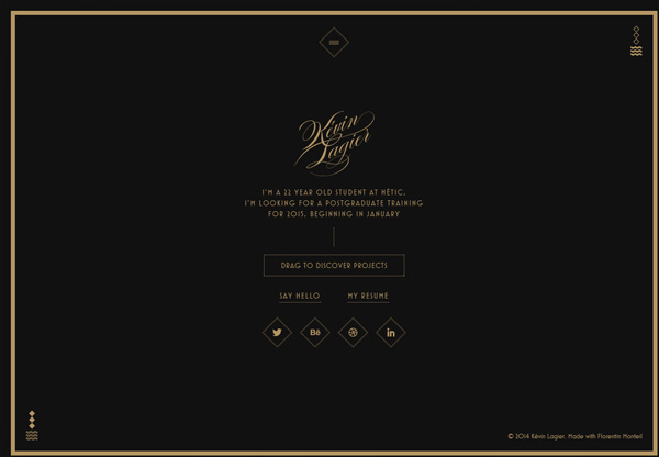 Dark web design example: Kévin Lagier's Portfolio