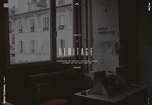 Dark web design example: Serge Thoraval